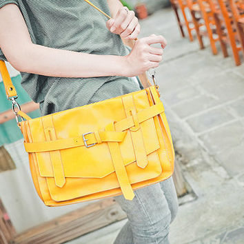 KAY Yellow Leather Satchel : Leather Satchel bag / Tablet Bag / Leather Shoulder Bag / Yellow Satchel / Leather Bag.