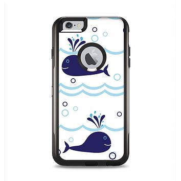 The Navy Blue Smiley Whales Apple iPhone 6 Plus Otterbox Commuter Case Skin Set