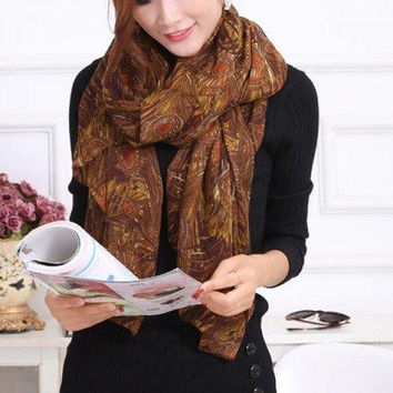 Chic Peacock Feather Pattern Color Block Voile Scarf For Women