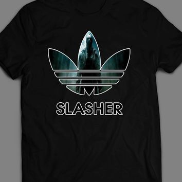 "FRIDAY THE 13TH JASON ""SLASHER"" ATHLETIC WEAR HALLOWEEN T-SHIRT"