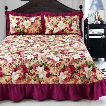 Burgundy Rose Ruffled Luxury Quilted Bedspread