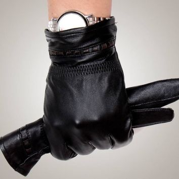 GR-202 Men's Leather Gloves Genuine Sheepskin Fashion Driving Gloves