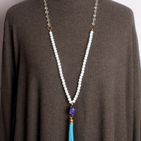 Tweeds and Beads Necklace - White and Gold with Purple Stone and Turquoise Tassel