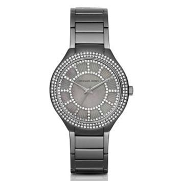 Kerry Pavé Gunmetal-Tone and Mother-of-Pearl Watch   Michael Kors