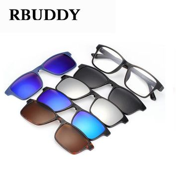 RBUDDY Magnet sunglasses Set Men square Driving Mirror Clear glasses optical Myopia women eyeglasses frame sunglasses clip 2017