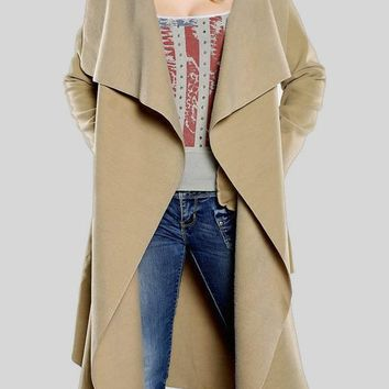 Camel Sashes Pockets Turndown Collar Plunging Neckline Long Sleeve Cardigan Coat