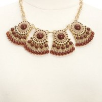 Dangling Beaded Collar Necklace by Charlotte Russe - Gold