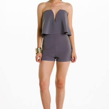 (alh) Strapless plunging gray romper