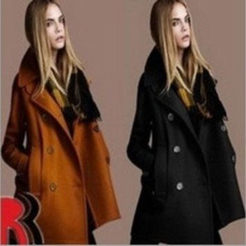 Winter Women's European And American Temperament Slim Woolen Coat Lapel Double Breasted Wool = 1930339780