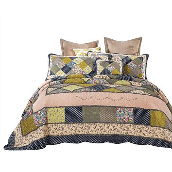 Tache 3-5 Piece 100% Cotton Calming Green and Blue Spring Shower Patchwork Quilt Set (DXJ100077)