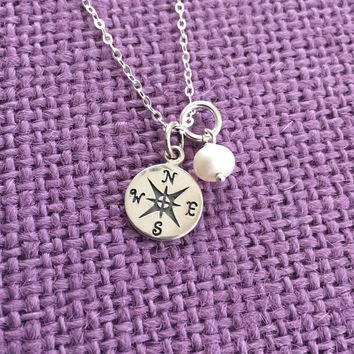 Graduation Gift - Sterling Silver Graduation Necklace - Graduation Jewelry Necklace  - Personalized Graduation - Compass - Gift for graduati