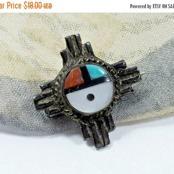 Zuni Sun face Native American Inlaid Stonework White Mother of Pearl MOP Blue Turquoise Red Coral Black Jet Petite Pin or Pendant Lapel Pin