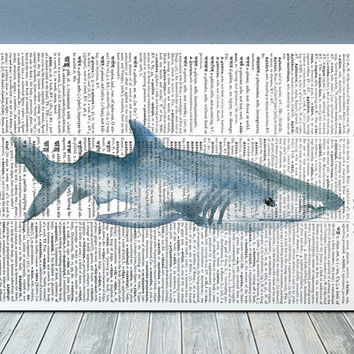 Shark decor Marine poster Nautical print Watercolor print RTA2080