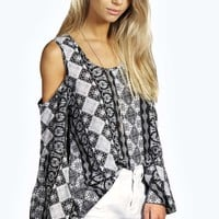 Libby Cold Shoulder Woven Printed Top