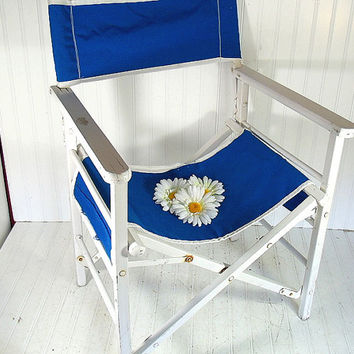 Vintage Wood & Canvas Director's Chair - Chippy White Paint with Royal Blue Fabric Folding Outdoor Furniture - Refurbish Repurpose Upcycle