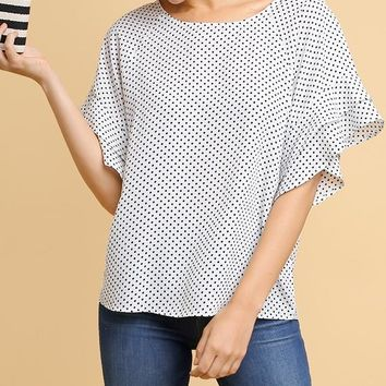 White Polka Dot Print Wide Neck Top