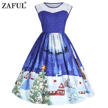 ZAFUL Christmas Lace Insert Sleeveless Party Dress Women 2017 Cute 1950s Autumn Vintage Robes Femme Plus Size 5XL 4XL Vestidos