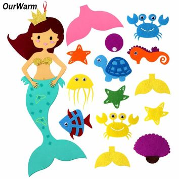 OurWarm DIY Felt Mermaid Party Game Birthday Party DIY Decorations Kids DIY Craft Supplies Unicorn Party Element with Ornaments