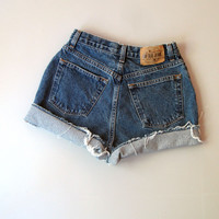 Vintage 90s Gap High waisted Cut Off Denim Shorts Mom Jeans Dark 8 Blue 26""