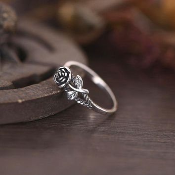 Vintage 3D Rose Ring Courtship Engagement Wedding Party Jewelry