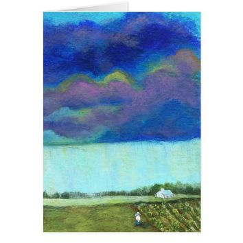 Storm Clouds Farm Garden Original Painting Card