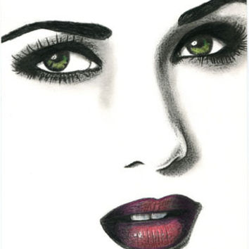 green eyes red lips colored pencil drawing womans face original art portrait