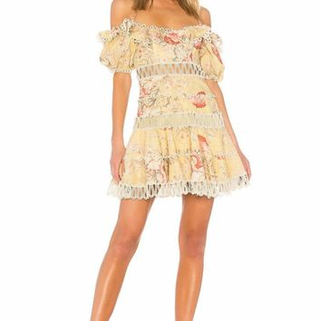 Floral Ruffled Off Shoulder Mini Dress