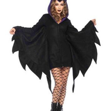 DCCKLP2 Cozy Villain,zipper front fleece dress w/horn hood in BLACK