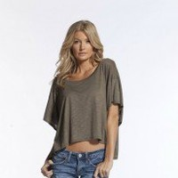 Elan Peek-a-Boo Sleeve Loose Fitting Top in White