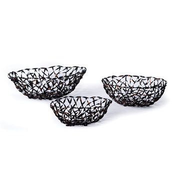New Rustics Furniture Company PWMB3 Patina Metal Woven Metal Baskets - Set of Three