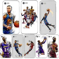NBA Basketball Phone Case Russell Westbrook Curry Harden James Kobe Coque for iphone 7 6 5s 5 se 6s plus Silicon Transparent tpu