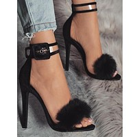 Buckle Fashion Women Fish Mouth Sandals High Heels Shoes