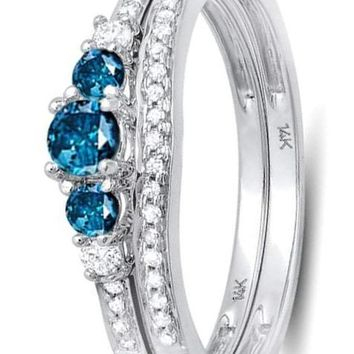 CERTIFIED 0.45 Carat 14k White Gold Round Blue And White Diamond Ladies 5 Stone Bridal Engagement Ring