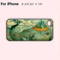 Whale Island,iPhone 5 case,iPhone 5C Case,iPhone 5S Case, Phone case,iPhone 4 Case, iPhone 4S Case