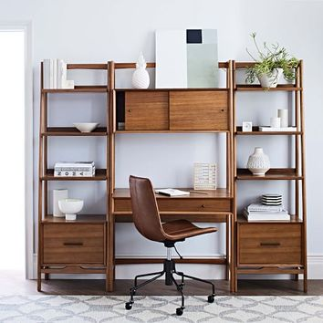Mid-Century Wall Desk + Shelf Set - Narrow