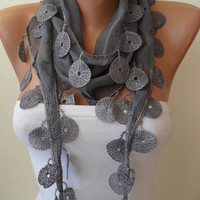 Grey Scarf with Grey Trim Edge by SwedishShop on Etsy