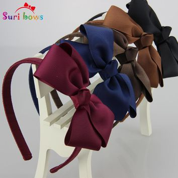 5 pcs/lot Suri bows 30 colors Lovely Girls Hairband Solid Ribbon Hairbow Hair Bands For Girl Ribbon Kids Hair Accessories FS011