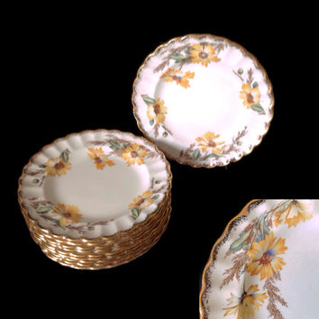 Vintage 1940's Limoges China Bread and Butter Plates Yellow Daisy Fluted 22K Gold Trim Set of 11 in Autumn Colors Beautiful Condition
