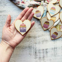 Rustic wedding favors wooden heart magnets cupcake guest favors bridal shower baby shower kitchen sweets country chic grandma granny