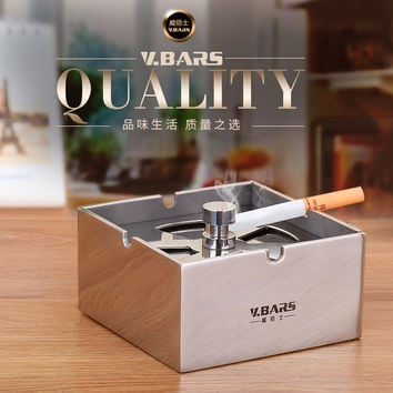 Fashion stainless steel thicker ashtray lid Large personalized home decoration seal windproof male
