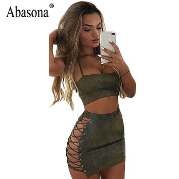Sexy Abasona Women Suede Dress