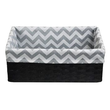 Lukasian House Chevron Lined Storage Basket - Small (Grey)