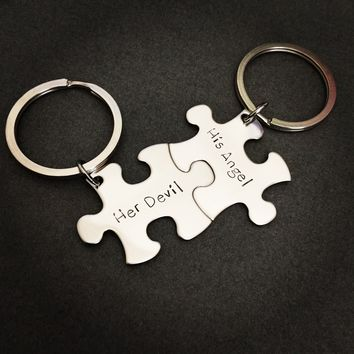 His Angel her Devil Keychains, Couples Keychains, Puzzle Piece Keychain Set, Anniversary Gift