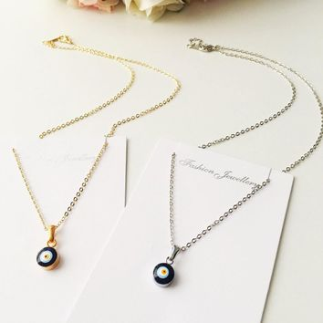 Tiny evil eye necklace, bead evil eye necklace, gold chain evil eye necklace