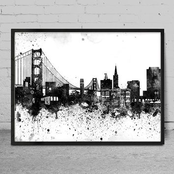 San Francisco City Watercolor Skyline Wall Art Print - San Francisco  Watercolor Art - Abstract Watercolor