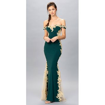 Hunter Green/Gold Off-Shoulder Long Prom Dress with Lace Trim
