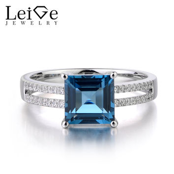 Leige Jewelry London Blue Topaz 925 Sterling Silver Ring Princess Cut Gemstone November Birthstone Engagement Rings for Her