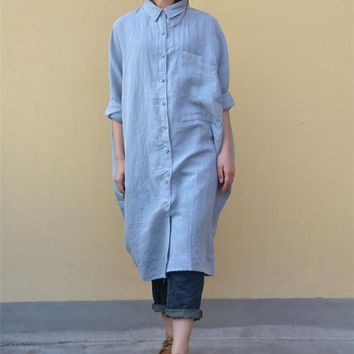 TH2 Women Button-Down Loose Tops Blouse Shirt Casual Plus Size 100% Linen Big Chest Pocket 3/4 Batwing