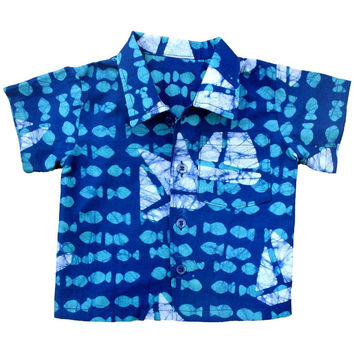 Fair Trade Baby Sailboats button down shirt