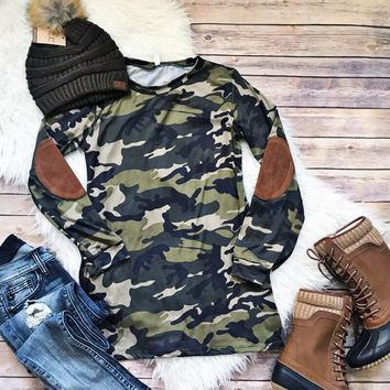 Camo Elbow Patch Top